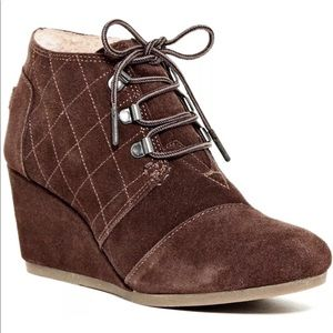 Tom Desert Wedge Bootie Suede Fur Lining Shoes New